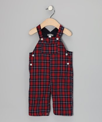 Red Plaid Overalls - Infant
