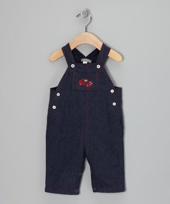 Navy Racecar Denim Overalls - Infant