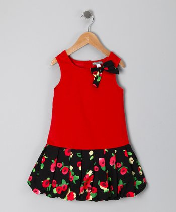 Red Floral Drop-Waist Dress - Toddler & Girls