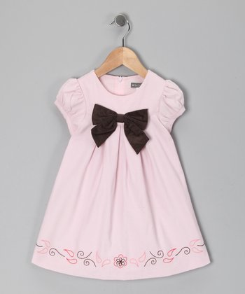 Pink Bow Corduroy Swing Dress - Toddler