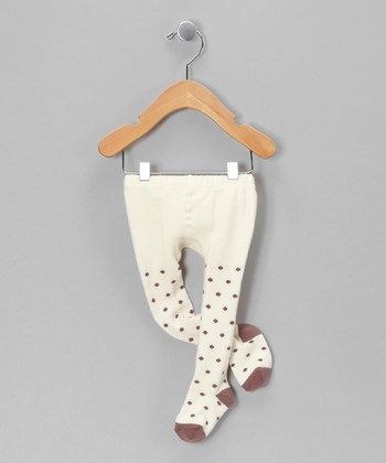 Ivory & Taupe Polka Dot Tights - Infant