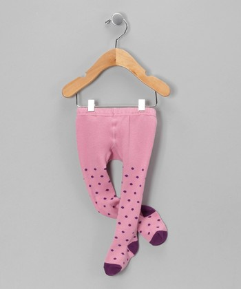 Pink & Purple Polka Dot Tights - Infant
