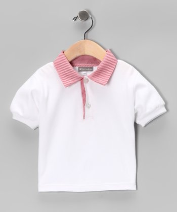 White & Red Pinstripe Polo - Infant