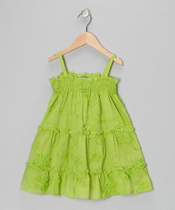 Green Flower Swirl Tiered Dress - Infant & Toddler