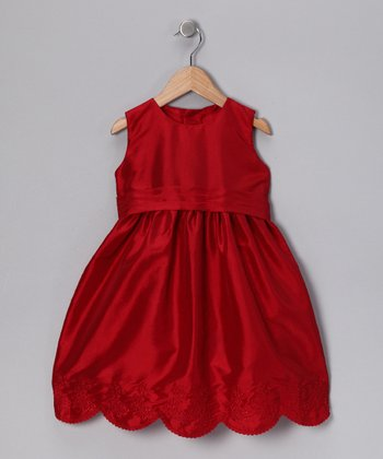 Red Scalloped Dress - Toddler