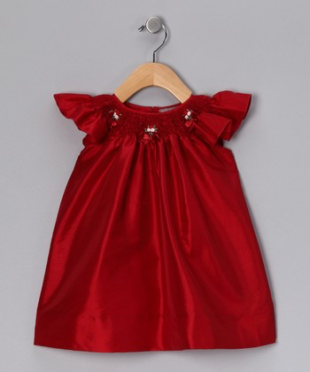 Red Smocked Angel-Sleeve Dress - Infant & Toddler