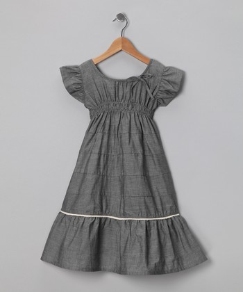 Black Chambray Butterfly Dress - Toddler
