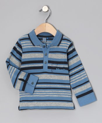 Blue Stripe Mélange Polo - Infant & Toddler