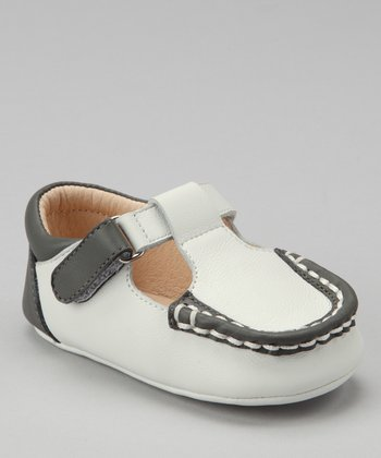 Dark Gray Color Block T-Strap Shoe