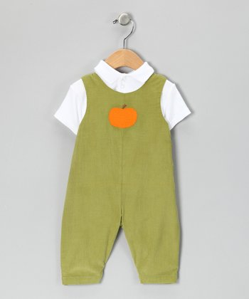 Green Pumpkin Overalls & White Polo - Infant
