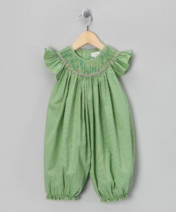 Green Gingham French Bubble Romper - Infant