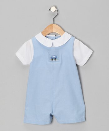 Blue Car Layered Romper - Infant
