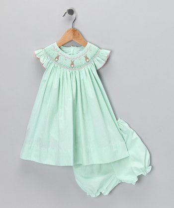 Mint Gingham Bunny Bishop Dress - Infant & Toddler