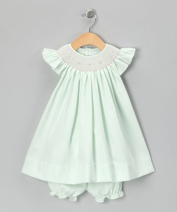 Mint Angel-Sleeve Dress & Bloomers - Infant
