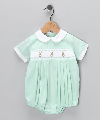 Mint Gingham Bunny Bubble Bodysuit - Infant
