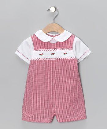 Red Gingham Watermelon Layered Romper - Infant
