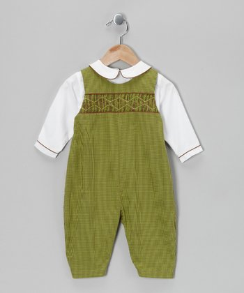 Green Gingham Layered Playsuit - Infant