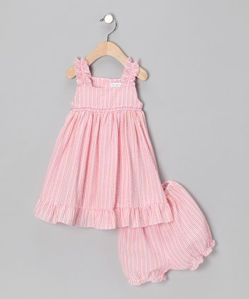 Orange & Pink Seersucker Sundress & Bloomers - Infant