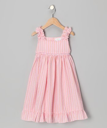 Orange & Pink Seersucker Sundress - Toddler