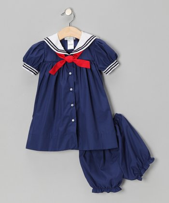 Navy Nautical Dress & Bloomers - Infant