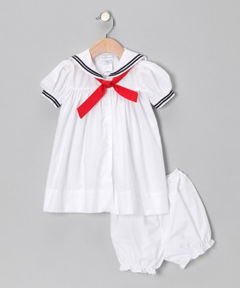 White Nautical Dress & Bloomers - Infant