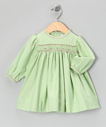 Lime Gingham Bishop Dress - Toddler