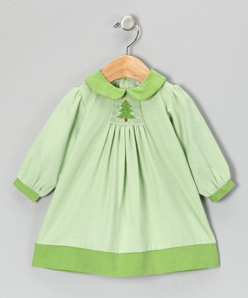 Lime Gingham Christmas Dress - Toddler