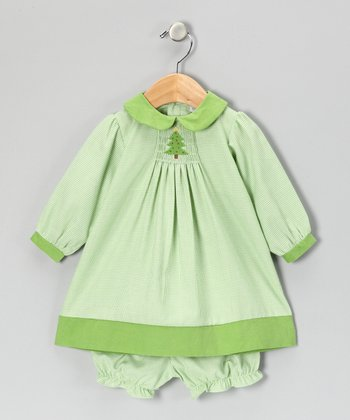 Lime Gingham Christmas Dress & Bloomers - Infant