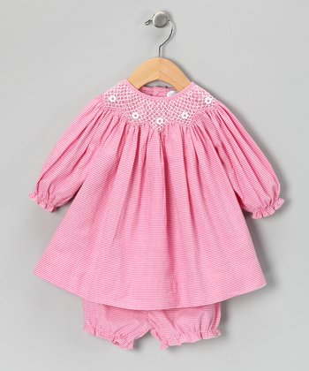 Pink Gingham Bishop Dress & Bloomers - Infant