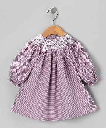 Plum Gingham Bishop Dress - Toddler