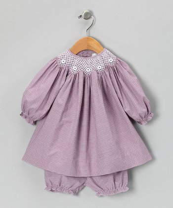 Plum Gingham Bishop Dress & Bloomers - Infant