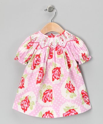 Pink & Red Floral Bishop Dress - Infant & Toddler