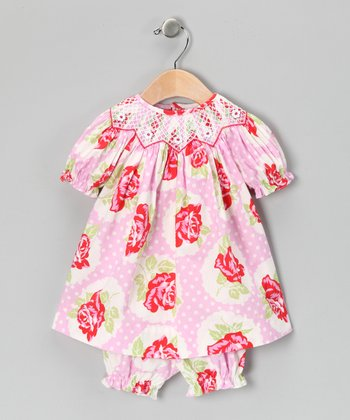 Pink & Red Floral Bishop Dress & Bloomers - Infant