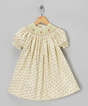 Ecru & Raspberry Floral Bishop Dress - Toddler