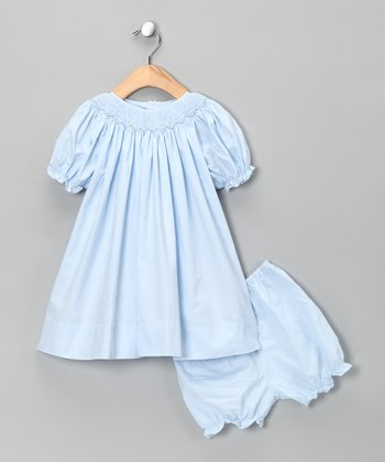 Blue Plaid Bishop Dress & Bloomers - Infant
