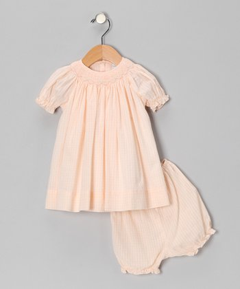 Melon Plaid Bishop Dress & Bloomers - Infant