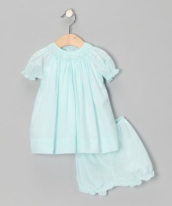 Turquoise Plaid Bishop Dress