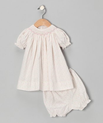 White Floral Bishop Dress & Bloomers - Infant