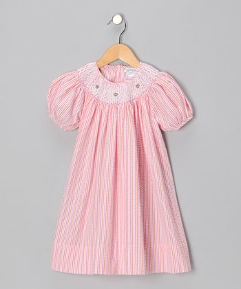 Orange & Pink Seersucker Bishop Dress - Toddler