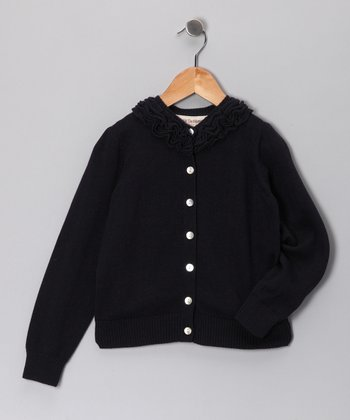 French Navy Bella Ruffle Cardigan - Toddler & Girls