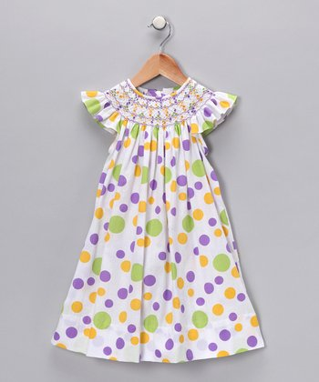 Lime Polka Dot Angel-Sleeve Dress - Infant