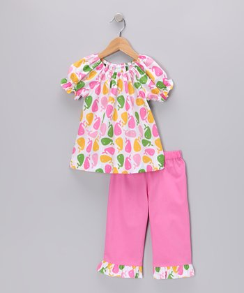 Pink Whale Peasant Top & Capri Pants - Girls