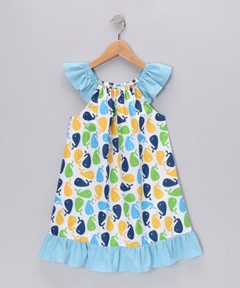 Blue Whale Angel-Sleeve Dress - Infant & Girls