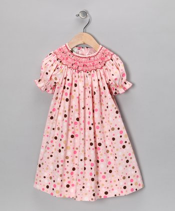Pink & Brown Polka Dot Bishop Dress - Infant, Toddler & Girls