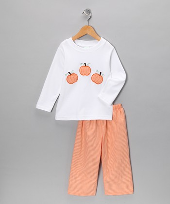 White Pumpkin Tee & Orange Pants - Infant & Toddler