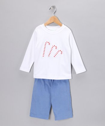 White Candy Cane Tee & Blue Corduroy Pants - Toddler