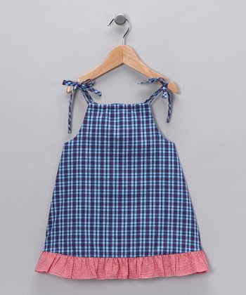 Royal Blue & Pink Plaid Swing Dress - Toddler & Girls