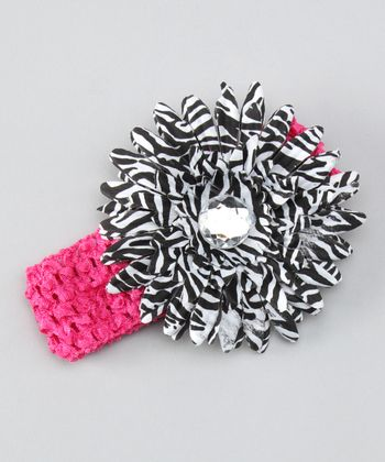 Hot Pink Zebra Flower Crocheted Headband