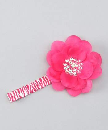 Hot Pink Zebra Sequin Flower Headband