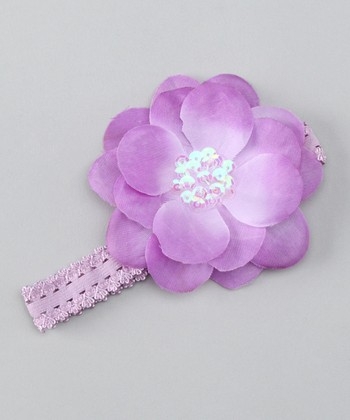 Lavender Sequin Flower Headband